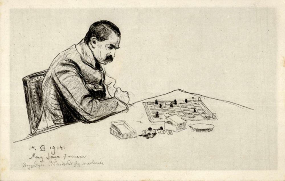 Reprint pocztówki z Józefem Piłsudskim, wydanej z okazji pobytu marszałka w Nowym Sączu 14.12.1914